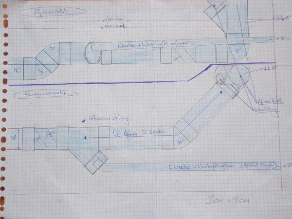 aansluiting van nieuwe afvoer badkamer op bestaande afvoer