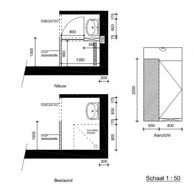 Douchedeur monteren for Plan kleine badkamer