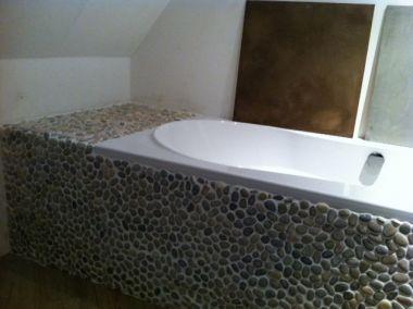 Overgang moza ek naar de vloer - Mozaiek blauwe bad ...