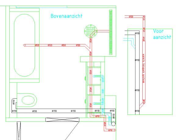 Cement In De Badkamer ~ Rood = 50mm douche afvoer en bad afvoer op 1 die naar een warmte