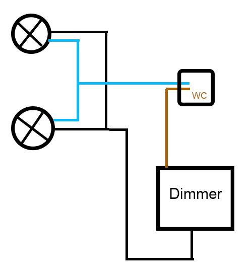 serieschakeling dimmer aansluiten op twee lampen