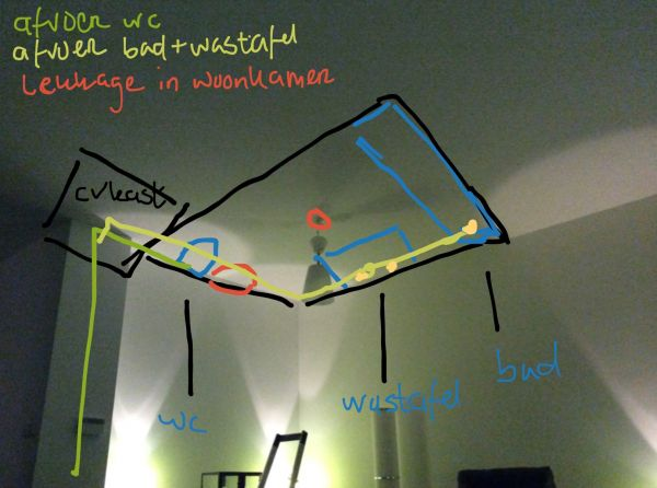 Lekkage plafond onder de badkamer