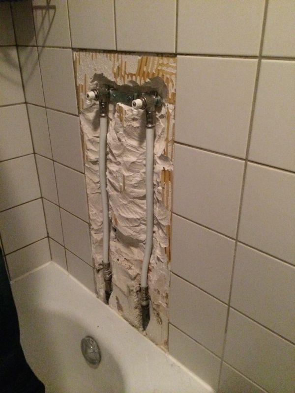Badkamer muur opvullen