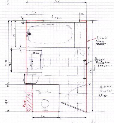 Verwarmings leiding komt uit onder ombouw bad - Zwarte hoek bad ...