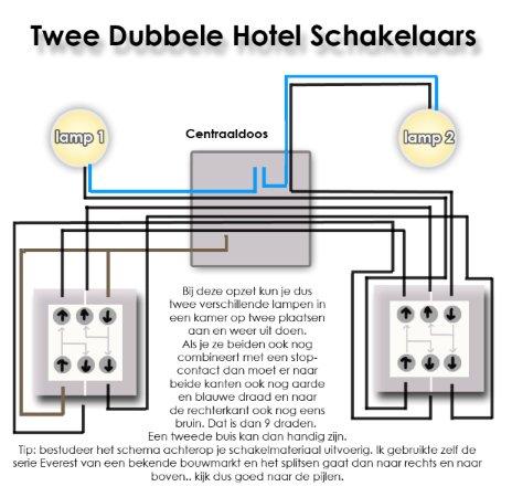 Twee dubbele hotelschakelaars schema - Hoe aparte een kamer in twee ...