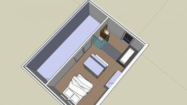 Badkamer slaapkamer gecombineerd.