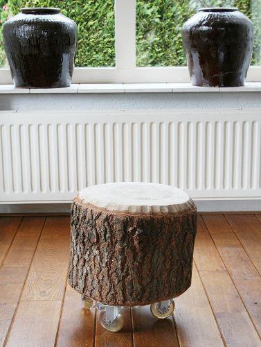 Tafeltje van stuk boomstam for Boomstam decoratie