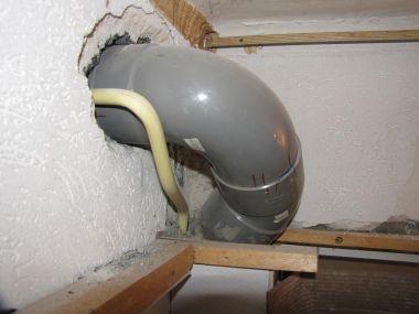 Renovatie badkamer 45 graden bocht van 100mm