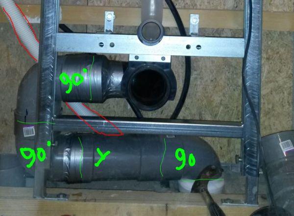 Wc afvoerbocht met extra 40 mm aansluiting tbv fontein