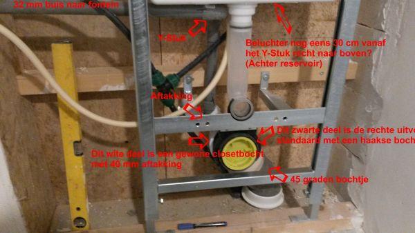 WC Afvoerbocht met extra 40 mm aansluiting tbv fontein # Geberit Wasbak_083428