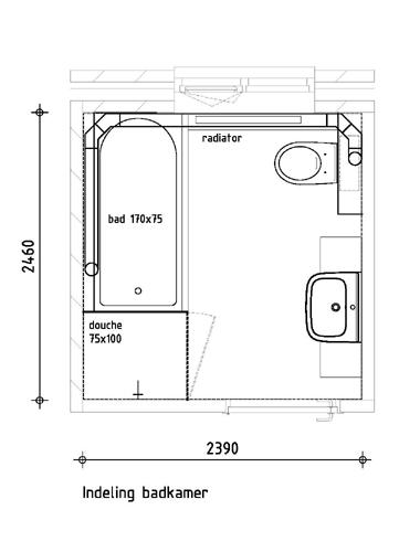 Verslepen toiletafvoer boven vloer for Badkamer tekening maken