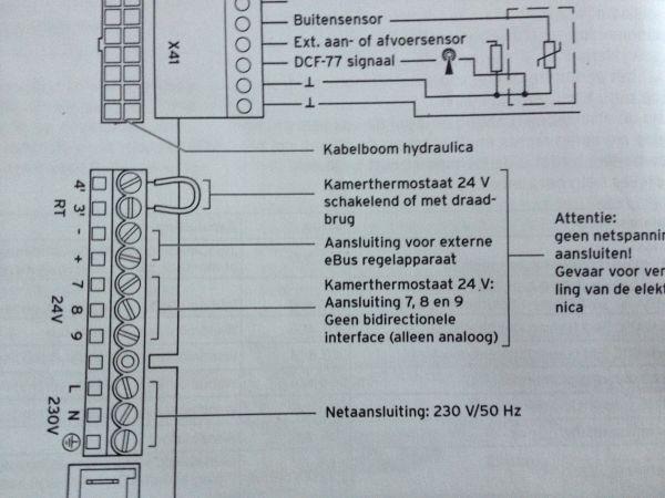 24v draad aansluiten voor thermostaat op vaillant vhr nl cw3
