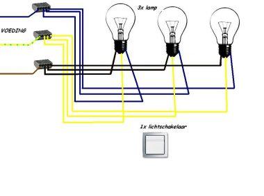 1 schakelaar 3 lampen aansluiten for Lampen verbinden
