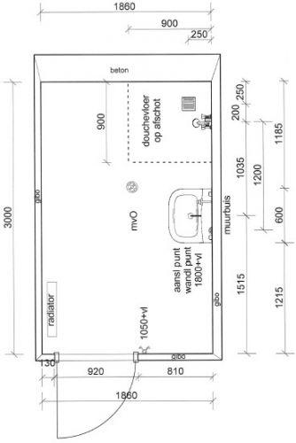 Klein badkamer ontwerp for Tekening badkamer maken