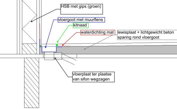 De badkamer vloer bestaat uit een lewisplaatvloer 46mm (door afschot ...
