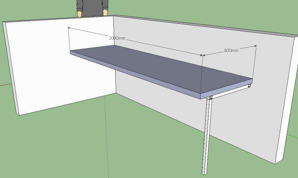 Zwevend Bureau Maken : Bureau op stalen frame met kokerprofielen