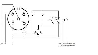 Controle van ventilator schakeling met relais (via perilex)
