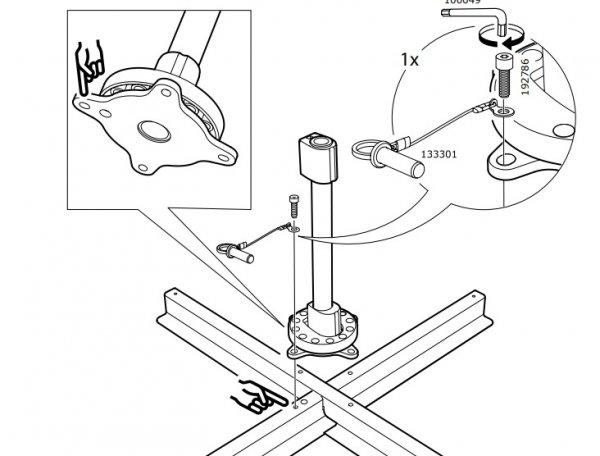 fa84ff38959 Voor onze Ikea zweefparasol wil ik graag een verrijdbare voet hebben. De  meegeleverde basis van deze voet is een ijzeren frame waar een beugel op  bevestigd ...