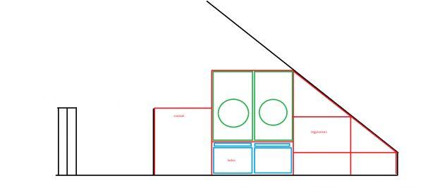 Kast voor verhoogde wasmachine op zolder met houten balken # Wasbak Zolder_223946
