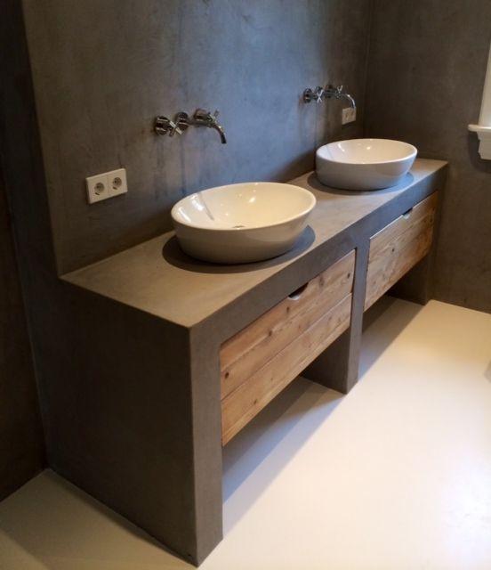 Badmeubel maken met beton cire for Badkamer zelf maken
