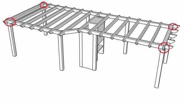 Genoeg Constructie veranda ringbalken op staanders HN45