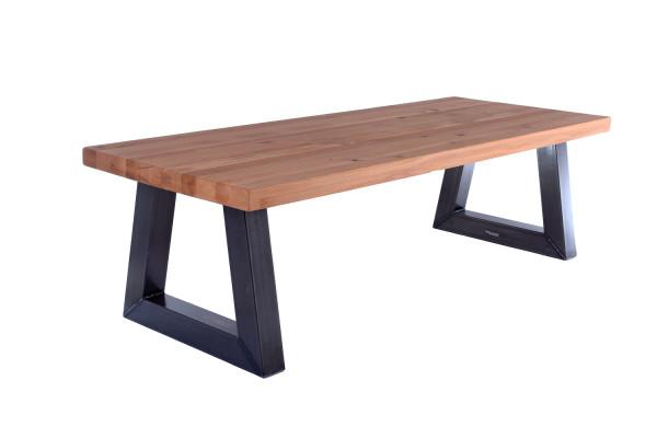 Eettafel met stalen onderstel en massief hout maken