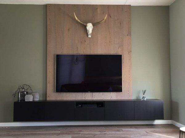 Ruime Tv Kast.Ophangen Eikenfineer Panelen I C M Zwevend Tv Meubel
