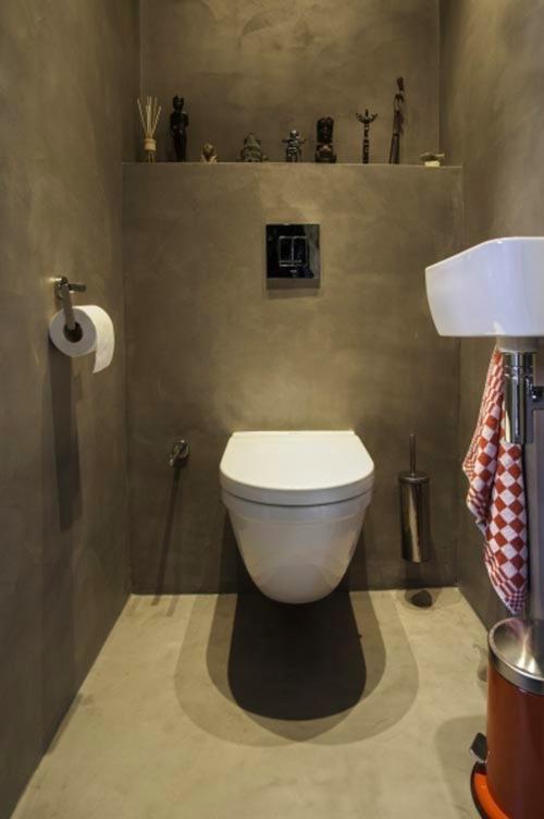 Spiksplinternieuw Betonverf toilet op groene gipsplaat OW-86