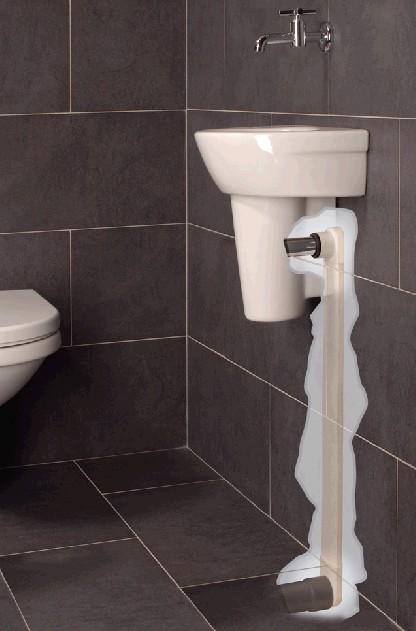 afvoer wasbak toilet in muur verwerken, Badkamer