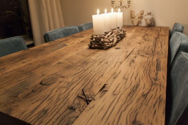 Eikenhouten tafelblad verlijmen voldoende for Tafelblad steigerhout maken