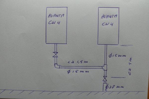 Bedwelming 2e CV-ketel gasaansluiting ZK13